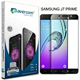 AVERCOM™ Full Cover Edge To Edge HD Clear Anti-Shatter Premium Tempered Glass Screen Protector Guard For Samsung Galaxy J7 Prime (Black)