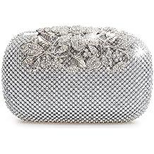 Bolso de fiesta con cristales de diamante y color plata con cierre de broche