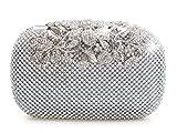 Bolso de fiesta con cristales de diamante, color plateado, con cierre de broche....