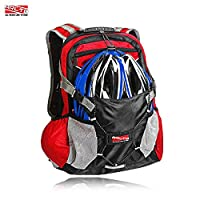 Arltb Bike Backpack 20L with Helmet Storage ( NO HELMET ) 2 Colors Cycling Hiking Travel Daypack Waterproof Motorcycle Backpack Lightweight Motorcycle Helmet Bag for Cycling Running Hiking Camping (Red-New)