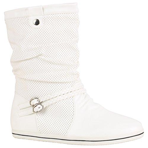 Stiefelparadies Bequeme Damen Stiefel Flache Schlupfstiefel Boots 151490 Weiss Amares 41 Flandell