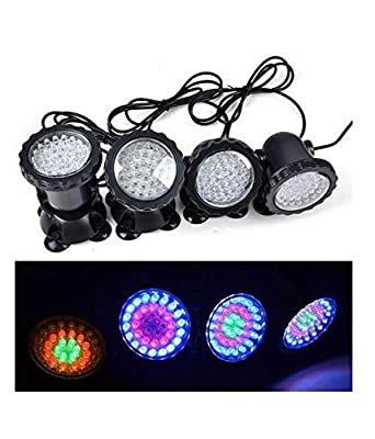 Lychee Waterproof Remote Amphibious 36 LEDs Set of 4 Change-color Submersible Underwater Lights for Garden Pond Aquarium Courtyard Swimming Pool Fountain Fish Tank (UK Plug)