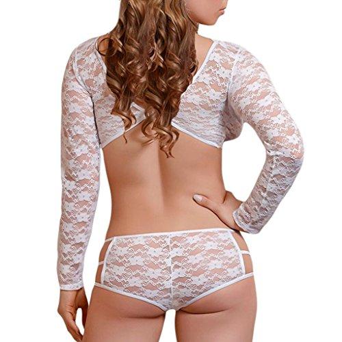 OVERMAL Vetements Sexy Ensemble de Lingerie sous-Vêtements, Sleepwear La Combinaison de La Lingerie Sexy Body - Bandage Bowknot Chemise Blanc