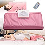 Ayanxh Far Infrared Sauna Blanket, Slimming Sauna Bag, Body Scrub, Muscle Pain and Beauty Treatments (with Remote Control, Battery is Not Included),Pink