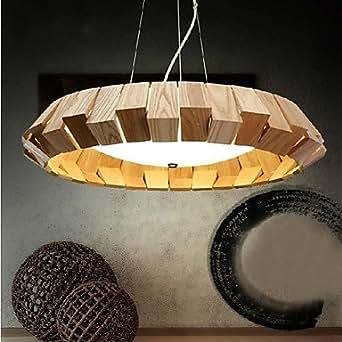 La lumière en fer forgé, luminaires suspendus de style contemporain contractée plafond une lumière, fer extérieur couleurs primaires en bois