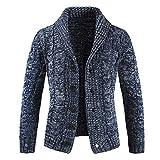 Rera Herren Pullover Strcikjack Cardigan Basic Mode Schalkragen mit Knopf Gestreift Hemd Slim Fit...