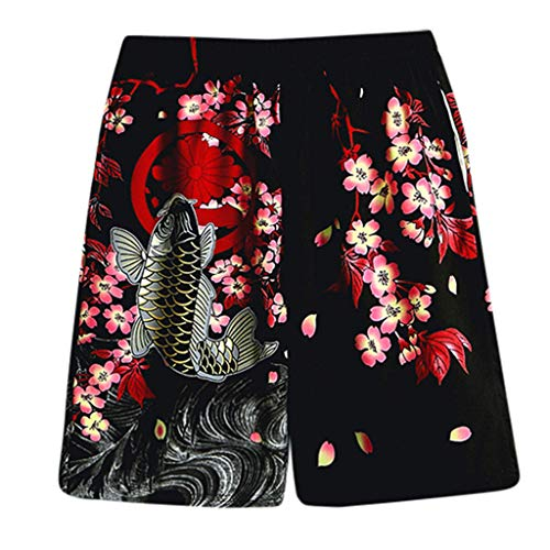 GreatestPAK Pants Herren 3D-Blume Gedruckt Freizeit Kimono-Anzug Hosen Drucken Roben Anzüge,Schwarz,EU:L(Tag:XXL) Kimono Hose