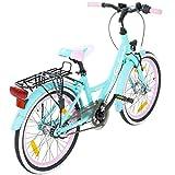 20 Zoll Kinderfahrrad Galano Blossom Mädchenrad Jugendrad Cityrad, Farbe:Grün -