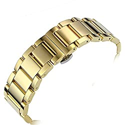 17mm Classic Ladies Gold Watch Bracelet Replacement Solid Stainless Steel Removable Links