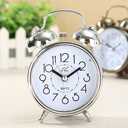 king do way Clásico Despertador Aprendizaje Clock Despertador Alarma Doble Campanas, Reloj Despertador Silencioso de Metal, Retro Reloj de Mesa con Luz (Plata)