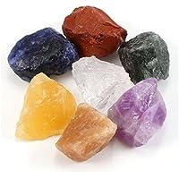 """Jovivi: 7 Piezas de Piedras Naturales de Piedra cruda Rough Rock Cristales para golosinas, cabinas (Amatista/Cuarzo Transparente/aventurina Verde/topacio/aventurina Rojo/jazper), 0,95""""-2,16"""""""