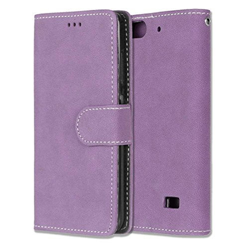 Chreey Huawei Honor 4C/G Play Mini Hülle, Matt Leder Tasche Retro Handyhülle Magnet Flip Case mit Kartenfach Geldbörse Schutzhülle Etui [Lila]