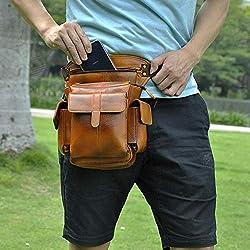 BAG Paquete de la cintura-hombres Crossbody bolso de la honda de múltiples funciones de la correa de cintura Pack de pierna gota bolsa