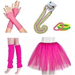 InnoBase 1980s Fancy Dress Zubehör Neon Erwachsener Tutu Beinwärmer Fishnet Pink Handschuhe Mehrfarbig Perlenkette Perlen Halsketten Armbänder 80er Mädchen Frauen Night Out Party Kleid(A1)