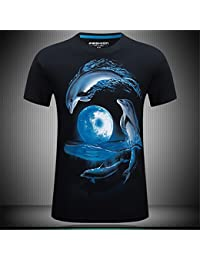 WHLTX Animal Elegante 3Dt Verano Camiseta Hombre De Manga Corta Camiseta Personalizada En 3D Estereoscópico Para Hombres De Manga Corta T-Shirt Negro Xl Camisetas Para