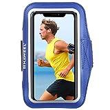 Sportarmband Universal Sport Armband für jedes Handy, Android Smartphone, MP3-Player, Armtasche Touch-Funktion 17-26cm Umfang wasserabweisendes Neopren und Nylon, Tasche mit Schlüsselfach Blau
