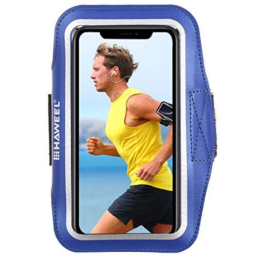 Sportarmband Universal Sport Armband für jedes Handy, Android Smartphone, MP3-Player, Armtasche Touch-Funktion 17-26cm Umfang wasserabweisendes Neopren und Nylon, Tasche mit Schlüsselfach Blau Touch Mobile Handy