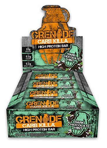 Grenade Carb Killa High Protein and Low Carb Bar, 12 x 60 g - Dark Chocolate Mint