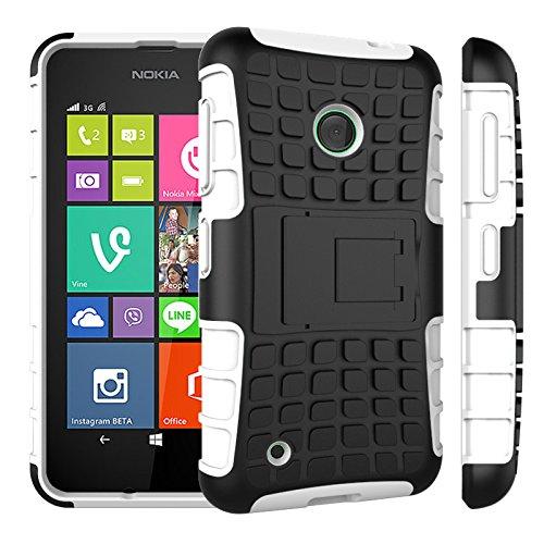 Qiaogle Telefon Case - Shockproof TPU + PC Hybrid Ständer Schutzhülle Case für Nokia Lumia 530 (4.0 Zoll) - HH05 / Weiß (Nokia Lumia 530 Case Hybrid)