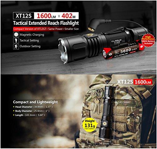 Preisvergleich Produktbild Klarus xt12s Mini Tactical CREE xph35Hi D4LED Taschenlampe 1318FT 1600LM Dual Schalter wasserdicht Taschenlampe enthalten 3600mAh wiederaufladbar 18650Akku Magnetischer Lade