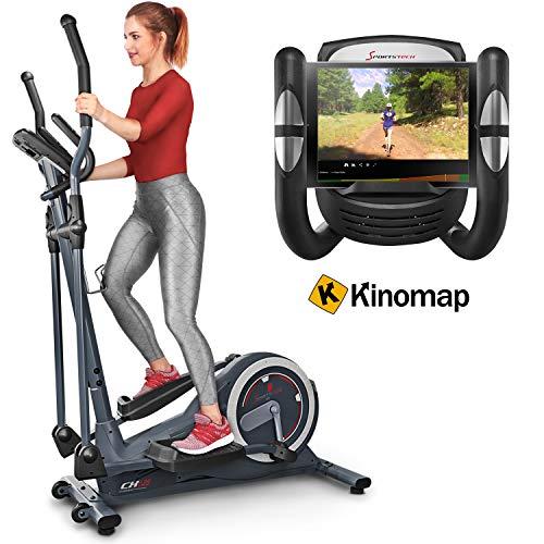 Sportstech CX625 Bicicleta elíptica - Compatible con App Kinomap, Volante de inercia de 24 kg, y 22 programas de Entrenamiento, HRC+Soporte para Tablet