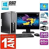 HP PC Compaq 6000 Pro SFF Intel E6300 Ram 8Go Disque 240 Go SSD WiFi Ecran 22