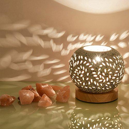Kristall-Salz-Lampe Himalaja-Nachtlicht-Strahlenschutz-keramische Lampe-Wärme-Schlafzimmer-Nachttischlampe ( Farbe : A )