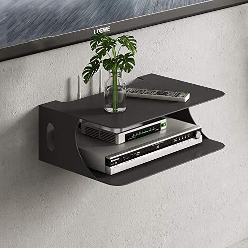 Fen Floating Regal Floating TV Set-top Box Aufbewahrungsbox WiFi Router Wohnzimmer Schlafzimmer Wand Set-top Box Lagerregal (Farbe : SCHWARZ) -
