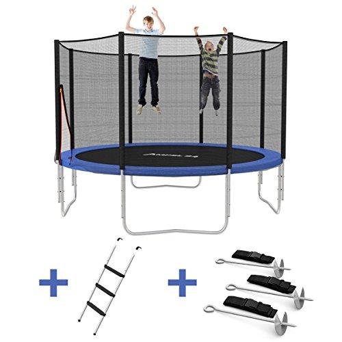 Ampel 24 Outdoor Trampolin Ø 366 cm blau mit verstärktem Netz | Gartentrampolin mit Leiter & Windsicherung | Sicherheitsnetz 8 gepolsterte Stangen | Belastbarkeit 160 kg | Gratis Expander