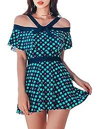 c2ef4834543e Hungo Damen Push Up Badeanzug Bademode mit Rock Badekleid Einteiler mit Röckchen  Figurformend Schwimmanzug