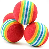 50 Stk Haustier Hunde Katze Spielbälle, Weichschaum Regenbogen Spielzeuge von MAXGOODS
