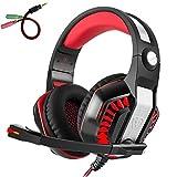 Beexcellent GM-2 Pro Gaming Over-Ear con micrófono, luces LED y control de volumen Cancelación de ruido de graves estéreo, para PS4 Xbox One, ordenador portátil, PC, Tablet (rojo)