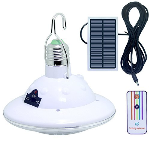 LISOPO Solarlampe Solar Birne 22 LEDs Solar Glühbirne Dimmbar mit Fernbedienungskontrolle Solar...