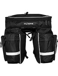 Mobina Premium Wasserabweisende Wasserfeste Wasserdichte Fahrrad Radtasche Fahrradtasche Transporttasche Satteltasche Reisetasche Gepäckträgertasche mit Reflektorschrift 45 L (3 - fach) - Schwarz