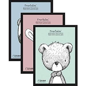 Frechdax® 3er Set Bilderrahmen 21x30 A4 Holz Rahmen für Kinderzimmer Poster schwarz   Weiss   Natur (Schwarz, A4 (21x30cm) / 3 Stück)