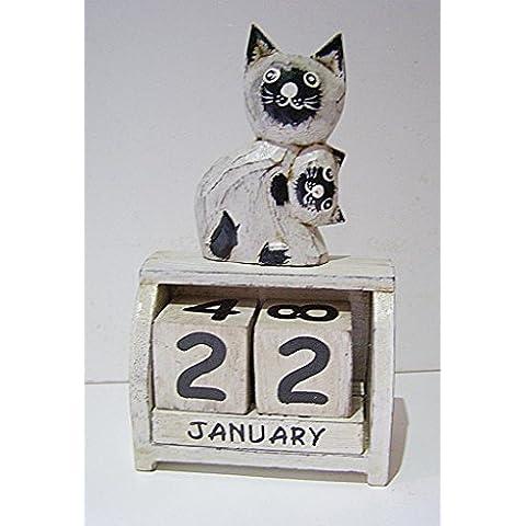 Gatto e gattino Calendario Perpetuo, 18cm di altezza in legno da scrivania, nuovo, stile Shabby Chic