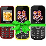 Combo Of 3 Mobiles(P4 Red Black+FM1 Black Blue+Yellow Black) With 1 Year Warranty