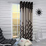 Home Sizzler 1 Piece Eyelet Polyester Door Curtain, 7ft, Brown