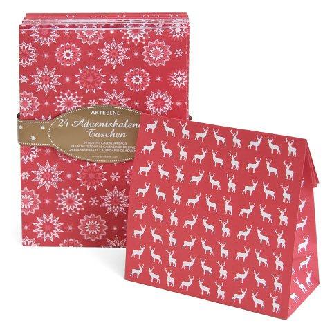 Adventskalender zum Befüllen \'Rot mit Schneesternen & Hirschen\' - 24 große Tüten und Zahlensticker eckig & bunt