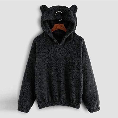 XZDCDJ Frauen Langarm Fleece Sweatshirt Warme Bärenform Fuzzy Hoodie Pullover 50 Sweatshirt Fleece Hoodie