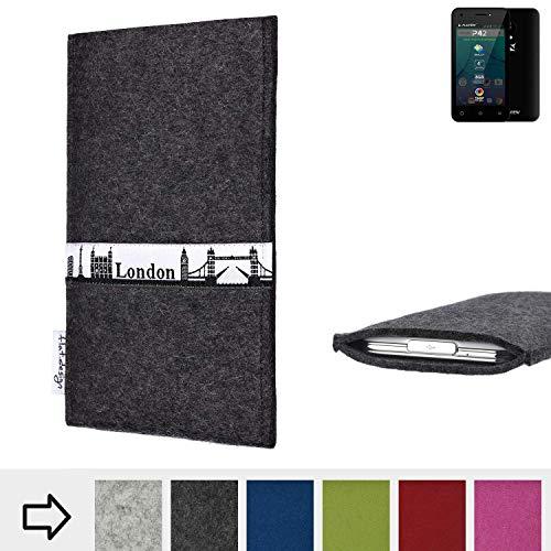 flat.design für Allview P42 Schutztasche Handy Hülle Skyline mit Webband London - Maßanfertigung der Schutzhülle Handy Tasche aus 100% Wollfilz (anthrazit) für Allview P42