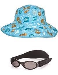 Paquet Cadeau Lunettes Bébé Babybanz Noir et un bob réversible Aqua de protection UV 0-5 ans