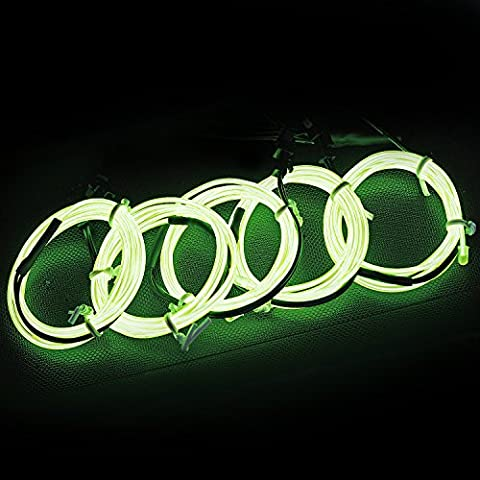 Elektrolumineszenz-Draht (EL Wire) Splitter 5 X 1 Meter Glowing Strobing Neon Light Set (Lemon) (Light Set Weiß Draht)