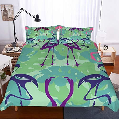 MOUMOUHOME Tropischer Bedding 3D Lila/Pink/Blau Flamingos Tagesdecke Gedruckt Grün/Blau Bettbezug-Set für Erwachsene,3 Stück mit 1 Bettbezug 2 Kissenbezug,Keine Bettdecke,230x220cm - Und Lila Tröster Grün
