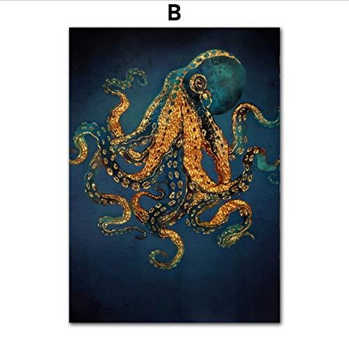 zxkx Abstrakte Octopus Quallen Schlange Wandkunst Leinwand Malerei Nordic Poster Und Drucke Tiere Wandbilder Für Wohnzimmer Decor 80x100cm