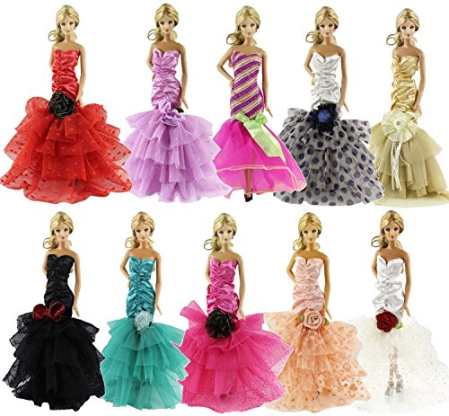 Kinder Für Outfits Barbie (ZITA ELEMENT Los 15 Items = 5 PCS Fashion Abendkleid Kleidung Outfit + 10 Paar Schuhe für Barbie Puppe-XMAS)