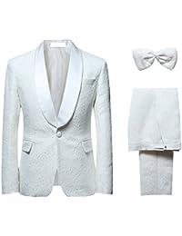YOUTHUP Herren 2-Teilig Anzüge Jacke Hose Bau Weiß Slim Fit