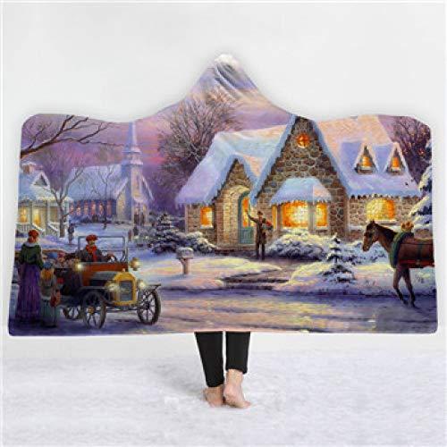 Grea Cartoon Weihnachten mit Kapuze Decke weichem plüsch Mode Mantel Cap Robe werfen Decken bettwäsche wohnkultur-beige, 150x130 cm (Erwachsener Plüsch-robe)