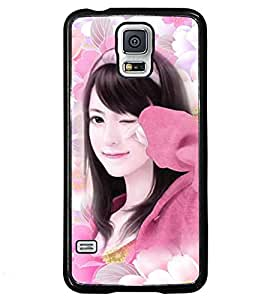 Fuson Flower Pattern Girl Back Case Cover for SAMSUNG GALAXY S5 - D3933