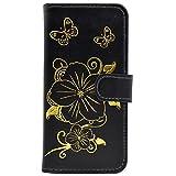 iPhone 6 6S Hülle, Chreey [Heiß Prägung] Glitzer Schmetterlings Groß Blumen Series Handyhülle Premium PU Leder Schutzhülle Flip Wallet Case mit Standfunktion [Schwarz]